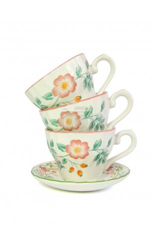 Stack of three porcelain tea cups