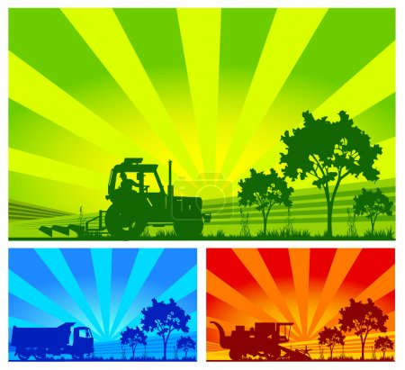 Illustration for Agricultural machinery, tractor, combine, lorry in field - Royalty Free Image