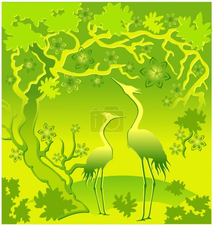 Herons in green