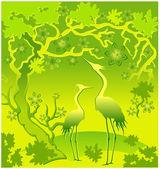 Herons in green