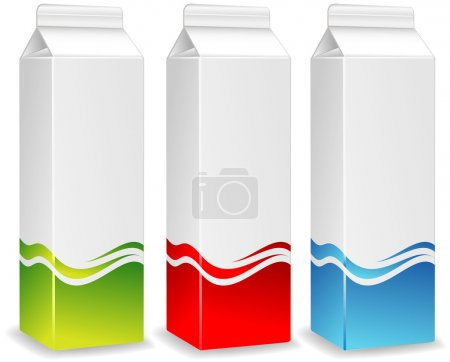 Illustration for Color packages for juice, milk, paper packing for products, store illustration - Royalty Free Image