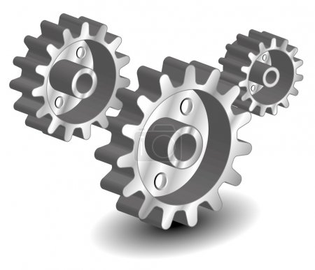 Illustration for Vector gears, isolated object on white background, technical, mechanical illustration - Royalty Free Image