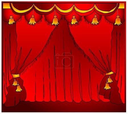 Illustration pour Scène de théâtre à la mode avec rideaux de velours, illustration vectorielle - image libre de droit