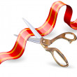 Vector art of scissors cutting ribbon in front of ...