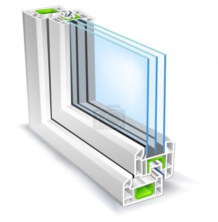 Photo pour Profil de fenêtre avec surface en verre arbre, illustration vectorielle - image libre de droit