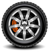 Car wheel in details on white background with shadow vector illustration