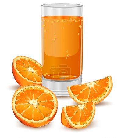 Illustration pour Verre de jus et d'oranges isolé sur blanc, illustration vectorielle - image libre de droit