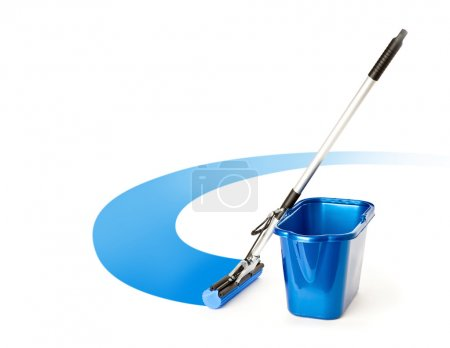 Photo for Mop and bucket. Isolated on white background - Royalty Free Image
