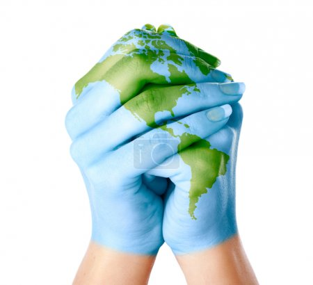Photo for Map of world painted on hands. Isolated on white background - Royalty Free Image