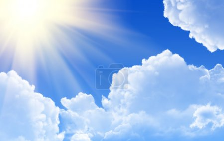 Photo for Sunny rays in blue sky - Royalty Free Image