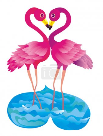 Flamingo kissing. Vector illustration