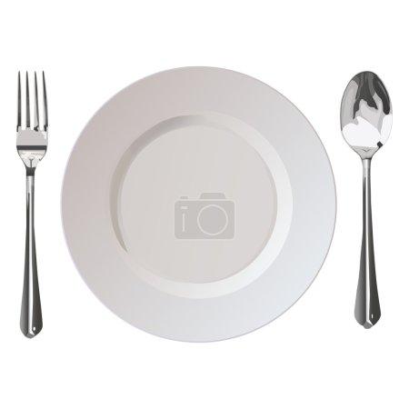 Illustration pour Cuillère de plaque de fourchette Flatwares sur fond blanc - image libre de droit