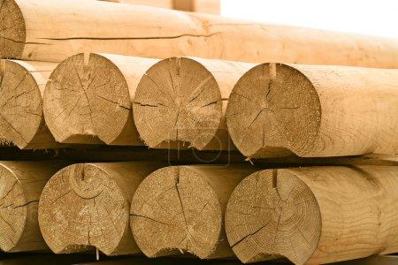 Photo pour Pile ronde de bois en plein air - image libre de droit