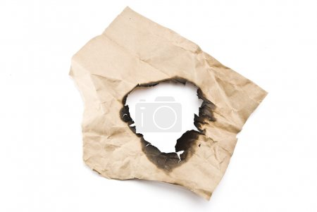 Photo pour Papier brûlé. Trou - image libre de droit