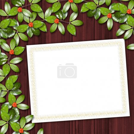 Photo for Card for greeting or invitation on the abstract background with ivy's leaves. - Royalty Free Image