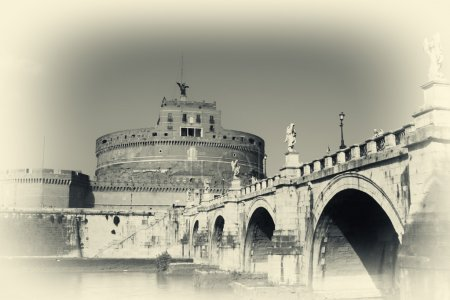 Famous San Angelo bridge and castle in Rome,Italy-...