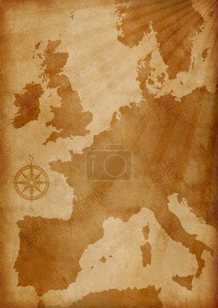 Photo pour Illustration de vieux grunge textured carte europe - image libre de droit