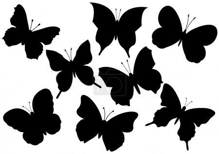 Illustration pour Ensemble de divers papillons volants illustration vectorielle - image libre de droit