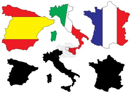 Mediterranean countries maps with flags