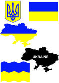 Ukrainian flag on country map vector