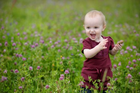Happy little baby girl in a meadow