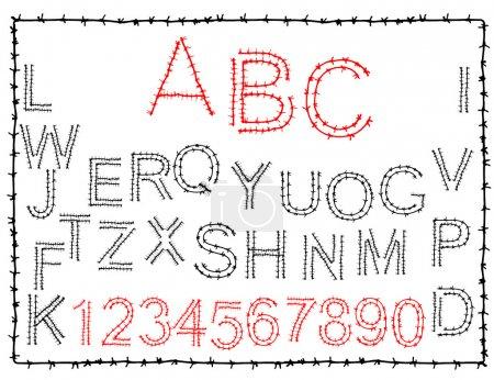 Photo pour Alphabet de dessinés à la main orné épines sharp - image libre de droit