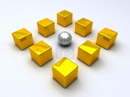 Steel sphere encircled by golden cubes