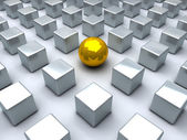 Golden sphere and many steel cubes