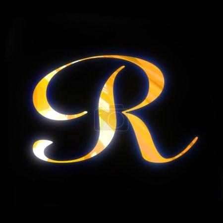 Lettre dorée R