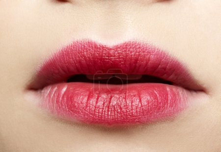 Photo for Close-up of caucasian girl's lips zone make-up - Royalty Free Image
