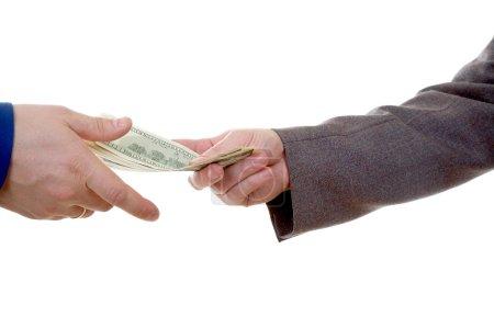 Photo pour Mains de l'homme deux avec argent isolé sur fond blanc - image libre de droit