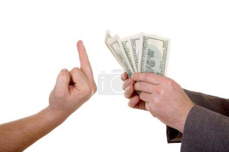 Photo pour Main de l'homme avec des dollars isolé sur fond blanc - image libre de droit