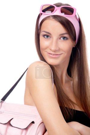 Model in pink sun-glasses