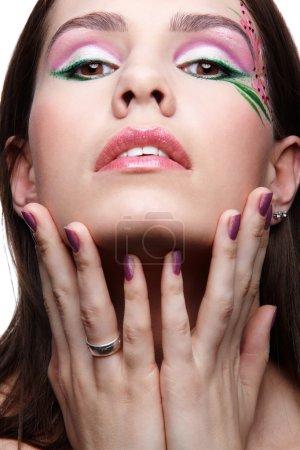 Girl with violet fingernails