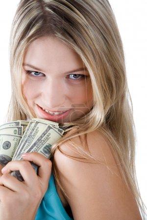 Photo pour Fille heureuse avec des dollars isolés sur blanc - image libre de droit