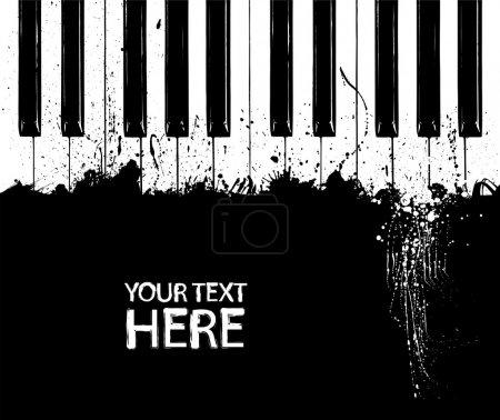 Illustration pour Touches du piano avec espace copie grunge noir et blanc - image libre de droit
