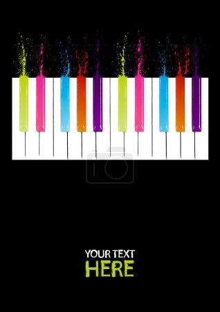 Illustration pour Touches du piano avec espace copie du spectre - image libre de droit