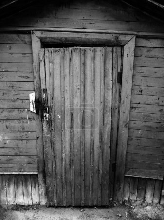 Black and white vintage wooden door