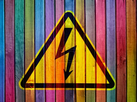 Photo for High voltage on colorful wooden wall - Royalty Free Image
