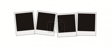 Four blank photos isolated over white