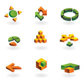 Collection of 9 design elements and graphics in green and orange color