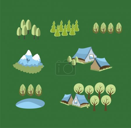 Vector set of icons with trees and villa