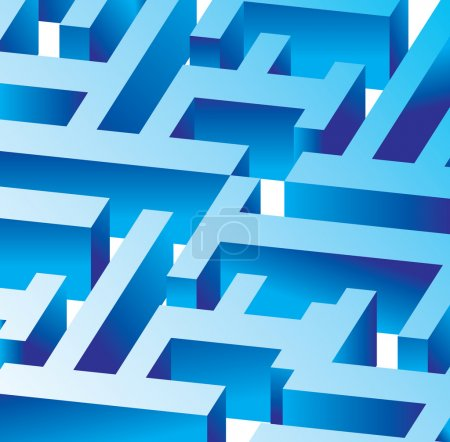 Illustration for Blue vector labyrinth - buisness concept - Royalty Free Image