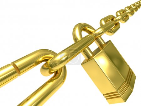 Photo for Chain closed by lock on white background. Isolated 3D image - Royalty Free Image