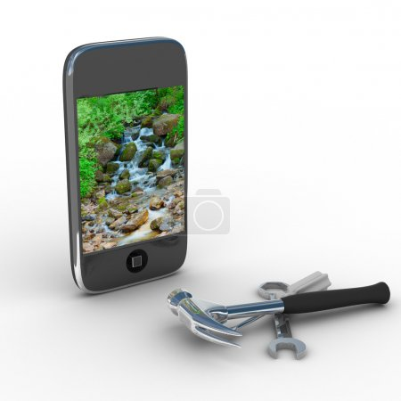 Photo for Phone repair. Technical service. Isolated 3D image - Royalty Free Image