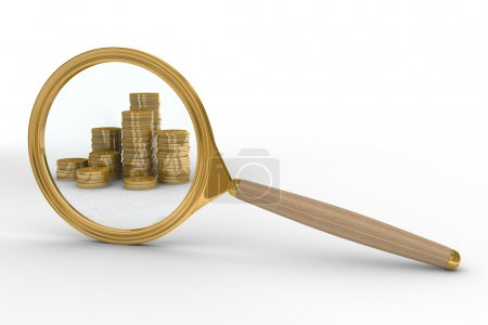 Magnifier and money on white background.
