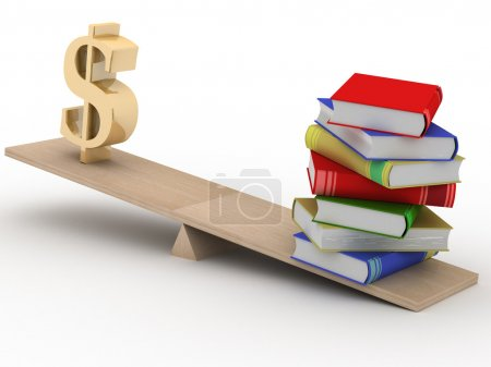 Sign dollar and the books on scales.