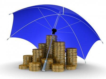 Photo pour Protection de l'argent. Image 3D isolée sur fond blanc - image libre de droit