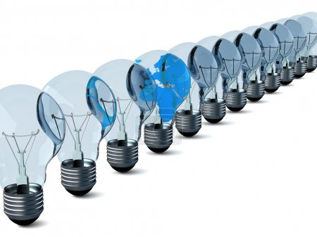 Row of electric bulbs on a white