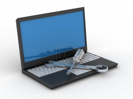 Photo pour Service technique informatique. image 3d isolé - image libre de droit
